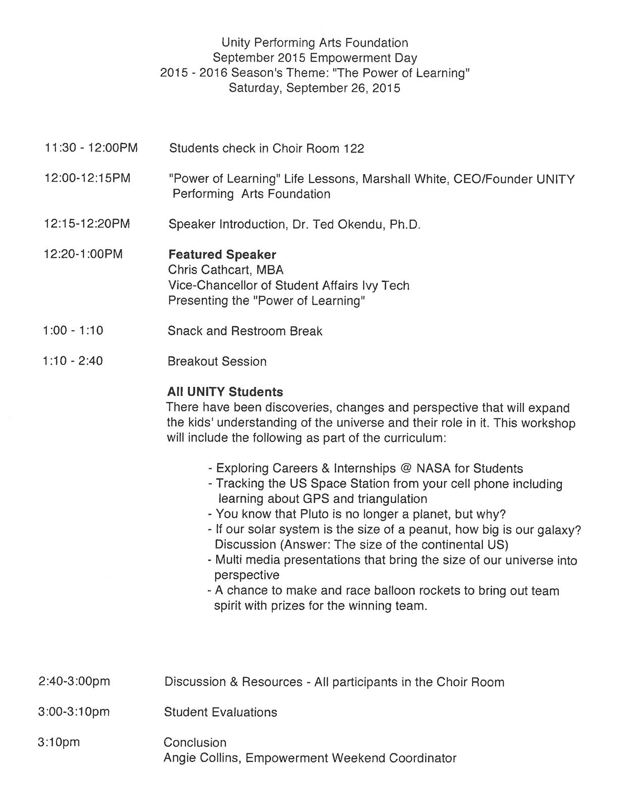 Empowerment Schedule