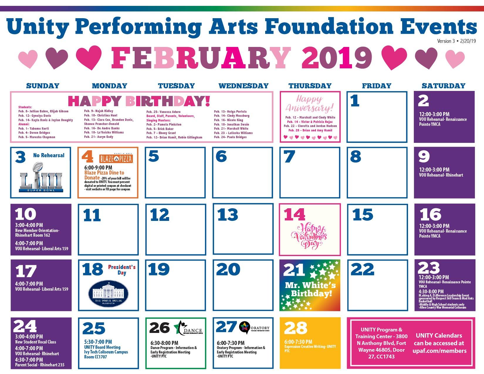 Unity Performing Arts Foundation » 2019 Organizational Calendar